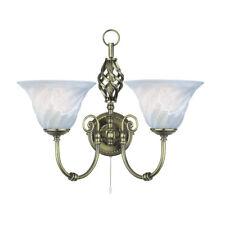Searchlight 972-2 Cameroon 2 Light Wall Bracket Antique Brass & Glass