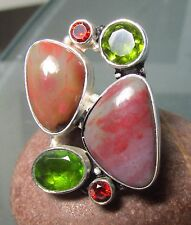 Sterling silver large cocktail agate stone ring UK O-O½/US 7.5. UK Seller.