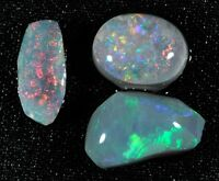 3 Vibrant Lightning Ridge Semi-Black Opal Rubs - 2.50 tcw - Australian Opal