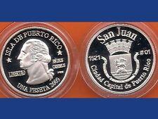 Silver PESETA SAN JUAN 2009 Puerto Rico Boricua Quarter 1/100 Plata