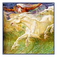 Neptune's Horses Detail Walter Crane  Counted Cross Stitch Chart Pattern