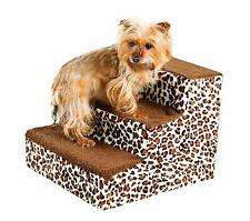 Pet Stairs Dog Puppy 3 Step Ladder Fleece Covered Staircase Ramp Leopard Design