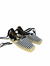 ZARA LACE-UP CHECK GINGHAM FABRIC ESPADRILLES FLAT SHOES SIZE UK5 EUR38 US7.5