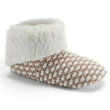 Sonoma Ivory & Tan Sweater Knit Boot Slippers Slipper Shoes Women's Size 5-6 NEW