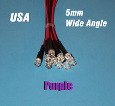 10 x LED - 5mm PRE WIRED 12 VOLT WIDE VIEW ANGLE PURPLE flat top