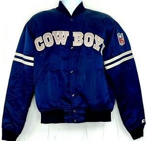 Vtg 90s Dallas Cowboys Starter Satin Varsity Jacket Blue Spellout NFL Retro L