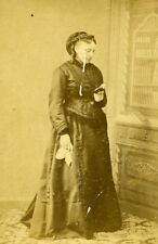 Woman Standing Paris Early Studio Photo Clement Old CDV 1860