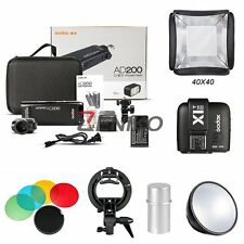Godox 2.4 TTL HSS Two Heads AD200 200w Flashes+ X1T-N Trigger 40x40 Softbox Kits