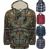 Mens Camo Fleece Lined Hooded Lumberjack Shirt Padded Sherpa Jacket Fur Lined