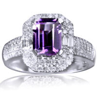 Emerald Cut 6x8mm Amethyst Pave and .75ctw Diamond 14K Gold Engagement Ring