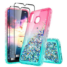 For Samsung Galaxy A20S A30S Case Liquid Glitter Bling Cover + Tempered Glass