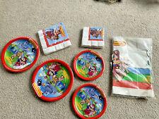 1988 Nintendo Super Mario Brothers VTG Napkins & Plates TABLECLOTH NEW in PKG