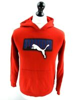 PUMA Boys Hoodie Jumper L Large Red Polyester & Cotton