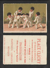 1880s PLACE CLICHY MAGASINS NOUVEAUTES MUSIC 7 BOYS FRENCH VICTORIAN TRADE CARD