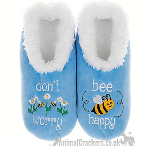 Ladies Snoozies Don't Worry Bee Happy Blue Cosy washable Slippers Bee lover gift
