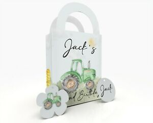 Personalised Green Tractor Theme Children Party Bag Gift Favour Box Treat Bag
