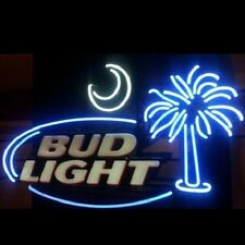 "New Bud Light Palm Tree Moon Beer Neon Light Sign 19""x15"""