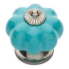 "P32974-281 Teal Ceramic 1 1/2"" Melon Finial Cabinet Drawer Knob"