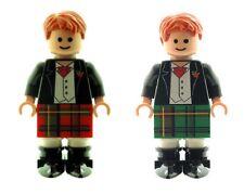 Custom progettato minifigura 2 x Sposo scozzese in Kilt stampato su parti Lego