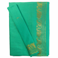 Sari Vert Menthe Brocat Doré Robe traditionnelle indienne+Instructions+Bindis