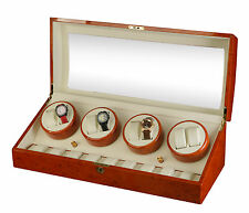 NEW Diplomat Burl wood Automatic 8 Watch Winder Box/ 9 Storage Case
