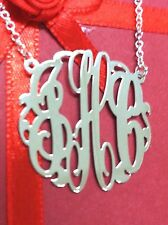 "MONOGRAM INITIAL NECKLACE SOLID STYLE  STERLING SILVER 1.50""(USA) 38mm ROUND"
