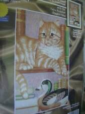 Janlynn Feline Bookshelf Counted Cross Stitch Kit Ginger Cat On Shelf 10x15 Inch