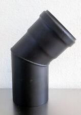 CURVA 45° DIAM. 80 SP.1,2  SMALTATO NERO PER STUFA A PELLET GOMITO 45 FUMISTERIA