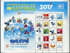 UNITED NATIONS 2017 INT'L DAY OF HAPPINESS NEW YORK SMURFS PERSONALIZED SHEET