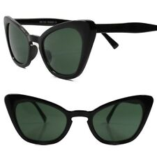 Classic Retro 70s 80s Look Chic Sexy Womens Green Lens Black Cat Eye Sunglasses
