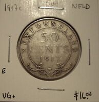 E Newfoundland George V 1917c Silver 50 Cents - VG+