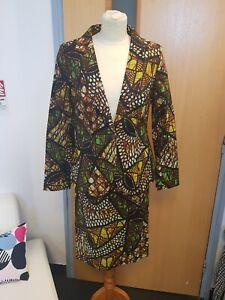 African Print Tailored Jacket & Pencil Skirt Suit Cotton Size UK12