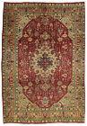 Vintage Persìan Tabrìz 7'x10' Red/Brown Wool Floral Hand-Knotted Oriental Rug