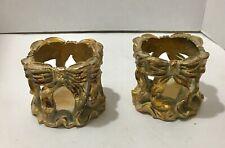"PAIR OF ELEGANT GOLD CANDLE HOLDER PILLARS 3.5"" / Altar"