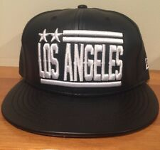 New Los Angeles New 9fifty Skyline Black Leather Snapback Fit Hat Cap  Dodgers