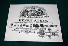 Henry Atkin gunmaker riproduzione carta Gun Case Accessori etichetta