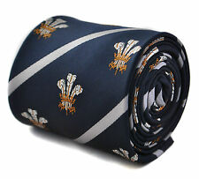 Navy With Stripe Mens Tie & Prince of Wales Feathers by Frederick Thomas Ft1784