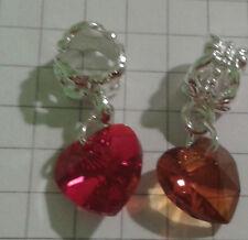 (2)RED+AMBER LAMP WORK CRYSTAL GLASS FITS EUROPEAN BRACELET,BEADS+SLIDERS BOXED