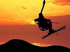 Painting Illustration Ski Lift Silhouette Sunset Birds Canvas Art Print