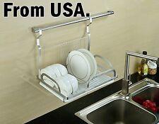 Wall Mount Dish Drying Rack Draining Rail Kitchen Sink Shelf Hanging Cup Pot Pan
