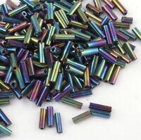 Rocailles Stiftperlen 6 x 2 mm Blau Iris Metallisch Glas 425g Glasstifte A601