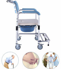 Mobile Commode Shower Chair portable toilet with Wheels Mobility Disability Aid