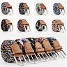 Unisex Women Men Canvas Elastic Woven Pin Buckle Waist Belt Striped Waistband