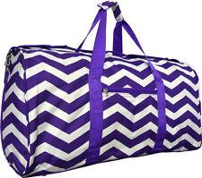 "22"" Women's Chevron Print Gym Dance Cheer Travel Carry On Duffel Bag - Purple"