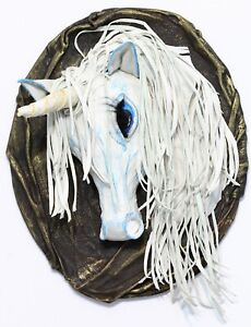 """Modern 3D picture from genuine leather """"Unicorn"""", fully handmade. Decor"""