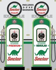 GAS PUMP SET SINCLAIR BANNER GAS STATION SHOP GARAGE DISPLAY SIGN ART 2- 2' X 5'