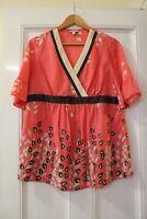 MIMI Maternity Size M Cute Pink Top 100% Silk Stunning Tunic