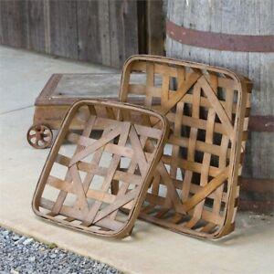 """Square Tobacco Baskets Set of 2 Primitive Farmhouse Chic Home Decor 20"""""""