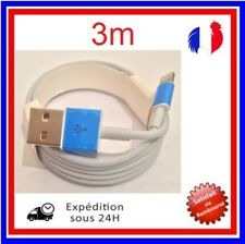 3m CABLE USB  POUR IPHONE X 8 7 6 5 SE PLUS IPAD CHARGEUR  RENFORCÉ BLANC