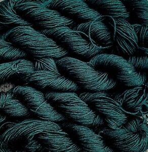 pure wool yarn, sport weight yarn, deep green, 5 skeins, 800 yards